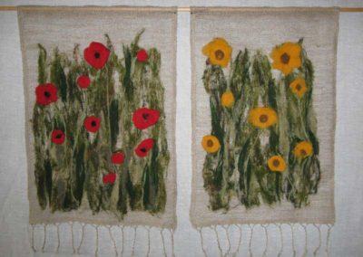 Gardine mit Blumen